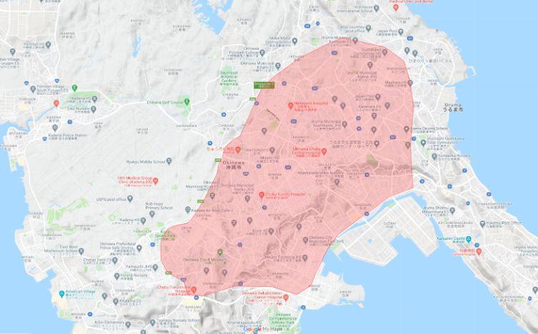 ウーバーイーツ沖縄市エリア画像