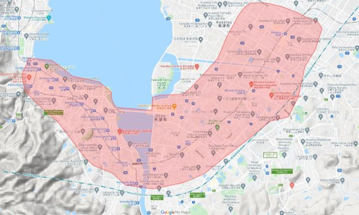 Uber Eats(ウーバーイーツ)滋賀県大津市エリアの範囲の画像