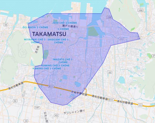 ウーバーイーツ香川県のエリア画像
