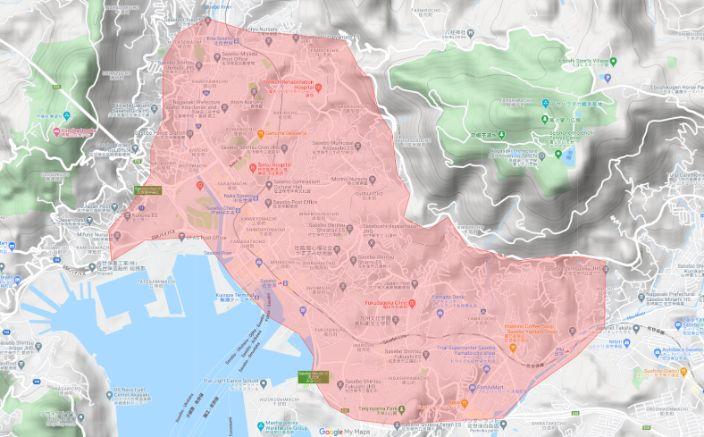 Uber Eats(ウーバーイーツ)佐世保市のエリア画像