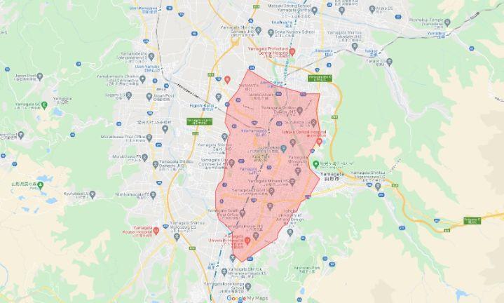 Uber Eats(ウーバーイーツ)山形県山形市エリアの範囲の画像